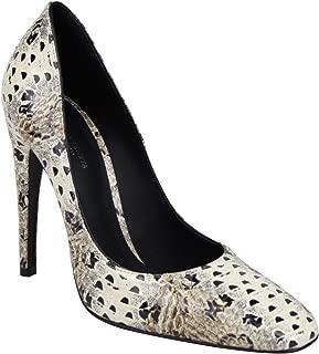 Pearl/Black Leather Elaphe Circle Stiletto Heels 451758 1909