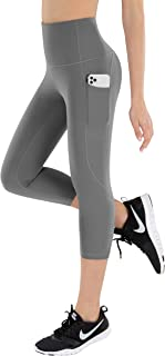 LifeSky Capri Yoga Pants for Women, High Waisted Tummy Control Workout Leggings with Pockets, 4 Way Stretching