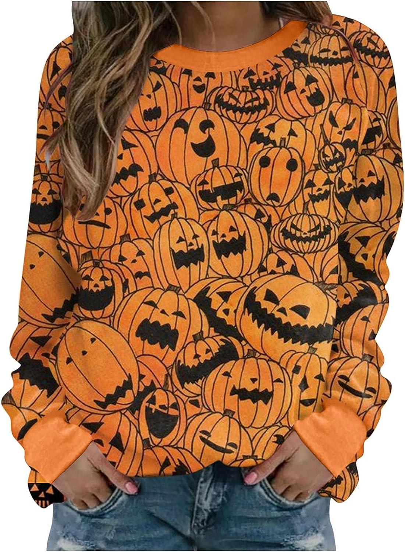 TAYBAGH Halloween Shirts for Women,Womens Fashion Long Sleeve Crewneck Halloween Sweatshirt Casual Pullover Blouse Tops