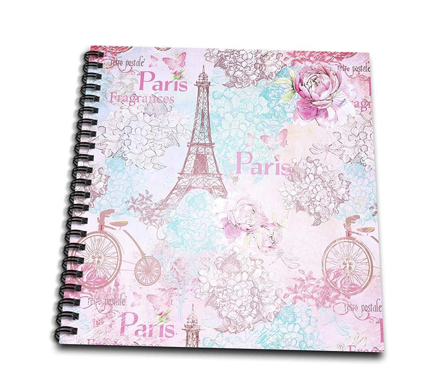 3dRose db_263045_1 Paris Eiffel Tower Vintage Pink and Blue Pattern Drawing Book 8x8