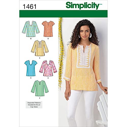 2bb69be70eb89 Simplicity Pattern 1461 Women's Tunic with Neckline and Sleeve Variations Plus  Size 20W-28W