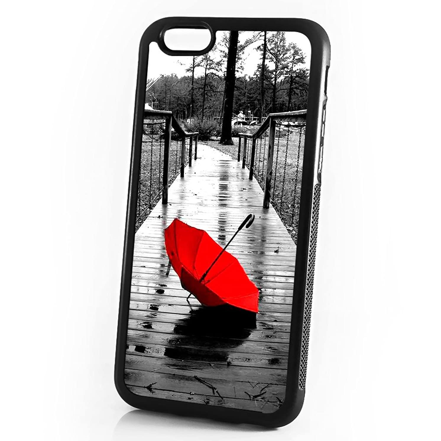 ( For iPhone 8 Plus / iPhone 7 Plus ) Shock Proof Soft Phone Case Cover Phone Case Back Cover - HOT10065 Red Umbrella