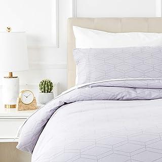Amazon Basics - Juego de cama de franela con funda nórdica - 135 x 200 cm/50 x 80 cm x 1, Gris geo