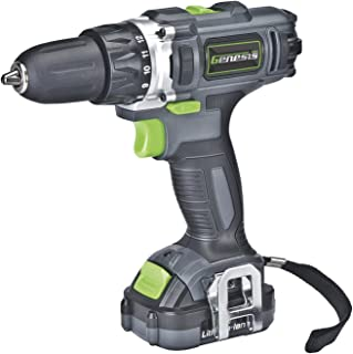 Genesis GLCD122P 12V Lithium-Ion 2-Gear Variable Speed Drill/Driver, Grey, 3/8-inch chuck with Trigger Activated LED light, Battery Charger and Flat/Phillips Head driver Bit