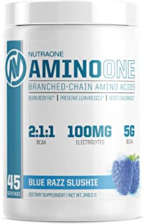 AminoOne BCAA Powder Supplement by NutraOne – Branched Chain Amino Acids to Help Fuel and Recover (Blue Raz Slushie - 45 S...