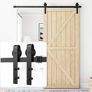 Homlux Heavy Duty Sliding Barn Door Hardware Kit for Bedroom Dinning Room 6.6FT Kit[Single Door] Black