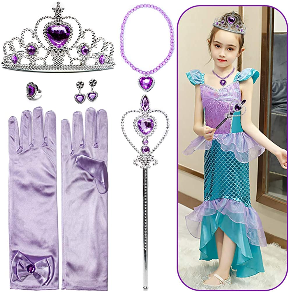 Princess Dress Up Accessories Gift Set Crown Necklace Cosplay Birthday Party