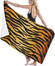 Jxrodekz Quick Dry Beach Towel Tiger Pattern Black Gold Beach Towel Personality Swimming Pool Water Oversized Bath Towel for Swimmers,Bath Towels for Kids & Adults, Pool, Water Sports
