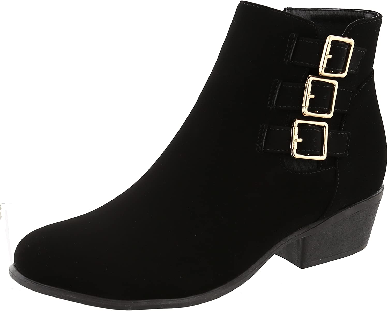 Cambridge Select Women's Western Strappy Buckle Cutout Chunky Stacked Heel Ankle Bootie
