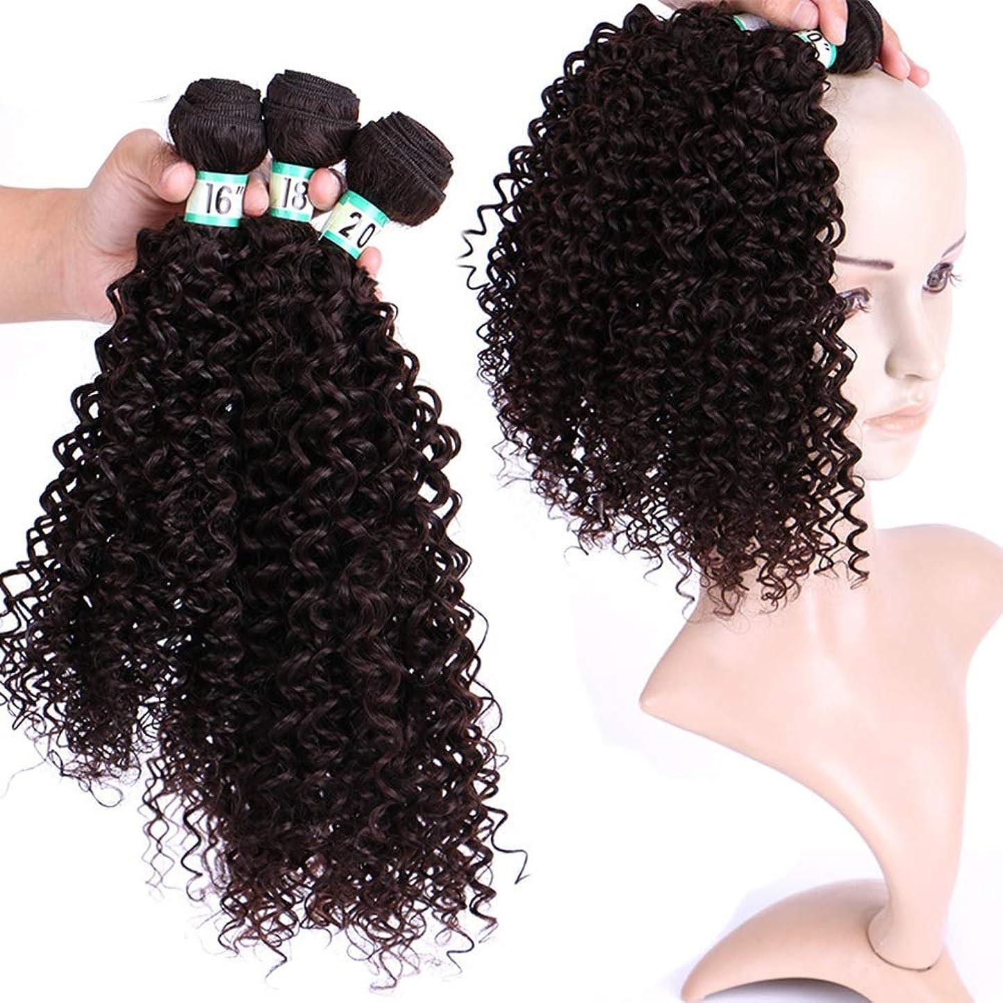 三十横アルファベット順Yrattary ブラジルの巻き毛織りジェリーカール3バンドル - 4#黒髪エクステンション70g /個(16 '' 18 '' 20 '')合成髪レースかつらロールプレイングウィッグロング&ショート女性自然 (色 : 黒, サイズ : 18