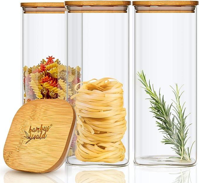 23 opinioni per bambuswald© Set di 3 barattoli in vetro borosilicato rinforzato con coperchio