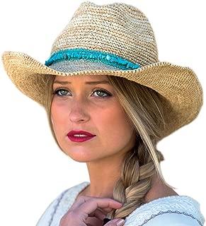 Rigon Headwear Women's Castaway Cowboy Sun Hat - Handwoven Raffia Cowboy