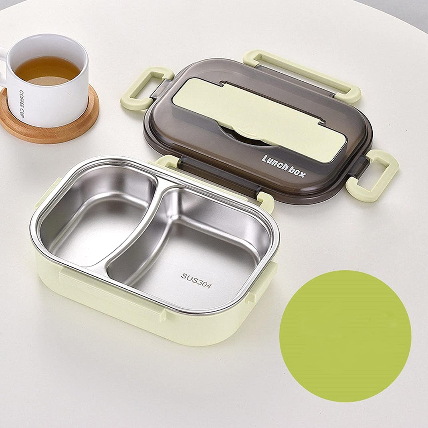 OLOPE Lunch Box,Bento Boxes for Student, Thermal Insulation Bento Lunch Box , High-Grade Stainless Steel Liner, Lunch Containers for Kids Lunch Box Stainless Steel Utensil Set (Lunch Box Green A)