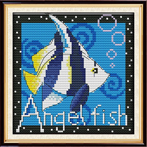 Maydear Full Range of Embroidery Starter Kits Stamped Cross Stitch Kits Beginners for DIY Embroidery (Multiple Pattern Designs) - Tropical Fish
