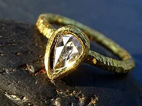 Salt and Pepper Diamond Ring, Rose Cut Diamond Engagement Ring 18k Gold, Yellow Gold Engagement Ring Boho Bride, Anniversary Gift for Her