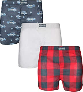 Men's Woven Cotton Classic Boxer Underwear with Functional Fly, 3-Pack