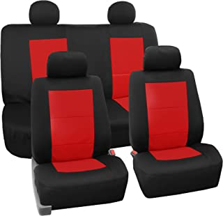FH Group FB085RED114 Seat Cover Neoprene Blend Waterproof Seat covers Full Set with Bench Red