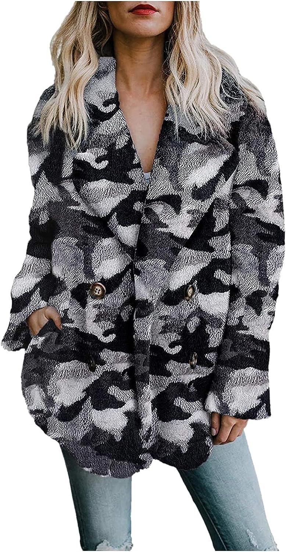Fuzzy Fluffy Warm Coat for Women Winter & Fall Notch Collar Cropped Overcoat Double Breasted Pattern Print Outwear
