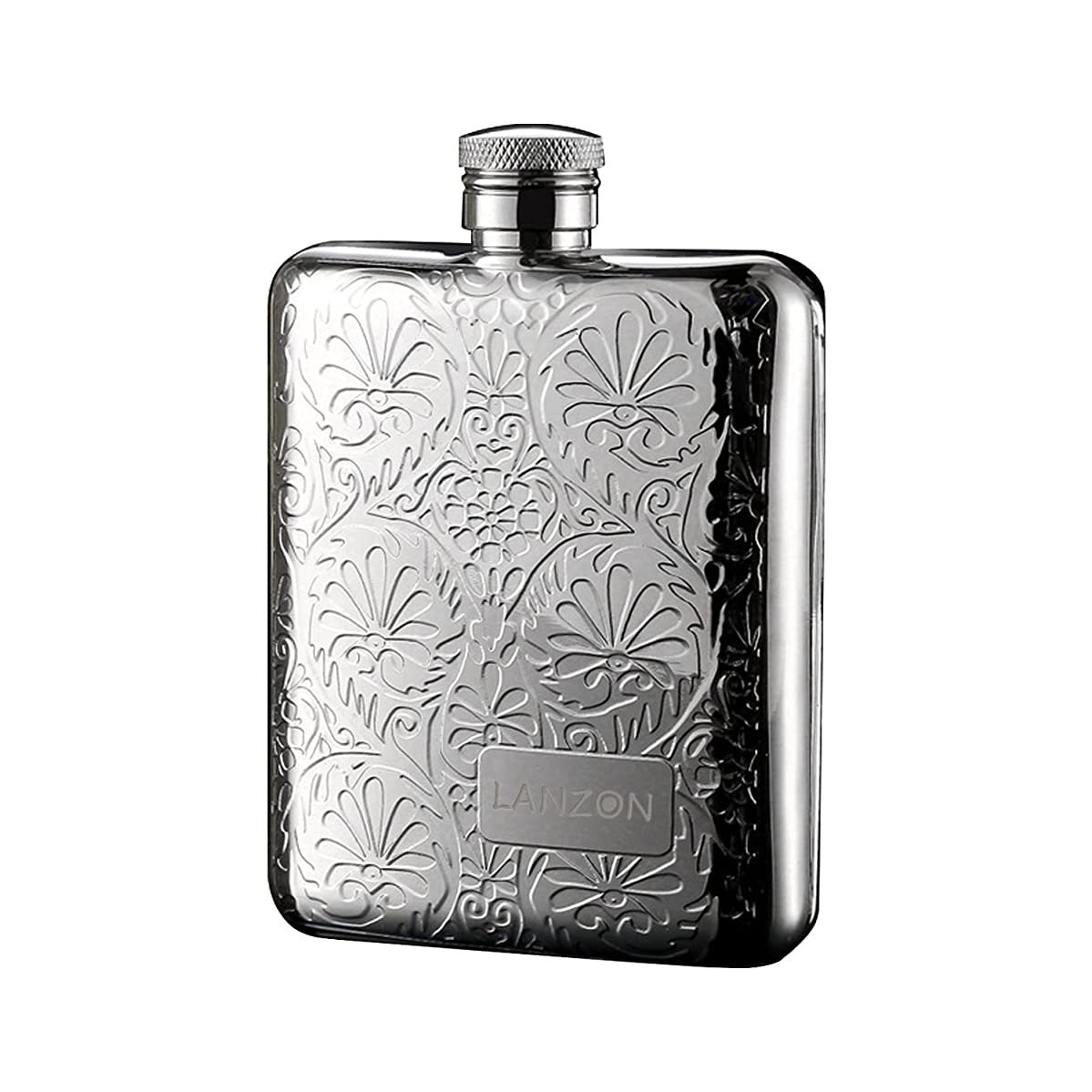 LANZON Hip Flask with Funnel, All 18/8 304 Food Grade Stainless Steel Curved Pocket Flask for Liquor | 6 OZ Capacity | Gift Boxed (Flower Pattern)