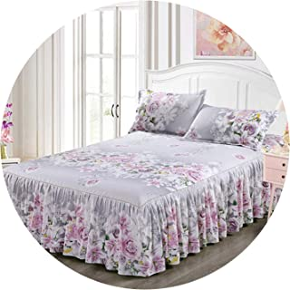 Classic Single Layer Skirt Non-Slip Sheet Cover Bed Sheet Room Decoration Flower Printing Bedspread Pillowcase 3pcs,1,180x200CM