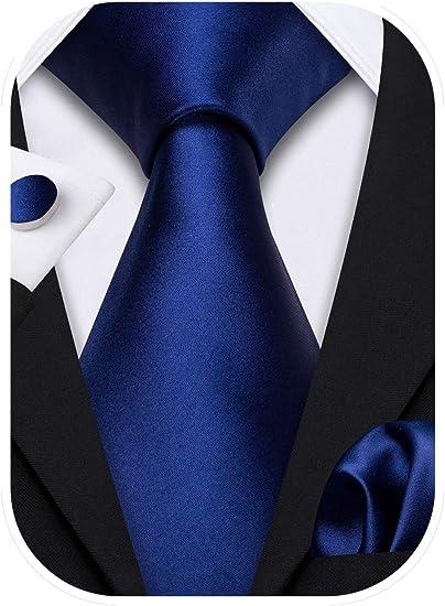 Barry.Wang - Juego de corbatas de satén formales de seda para boda, negocios, pañuelo, gemelos de colores sólidos