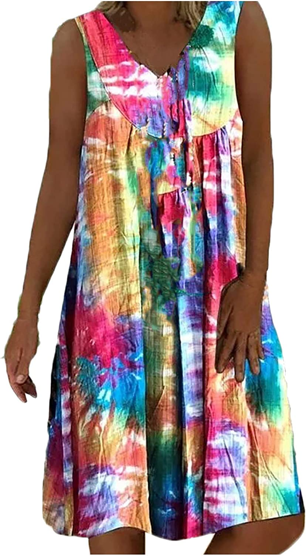 Jinjin2 Summer Dress for Women, Sleeveless V Neck Casual Mididress Beach Dress Print Plus Size