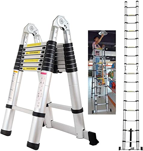 wholesale 16.5ft A-Frame Telescoping Ladder Aluminium Extension lowest 330lb Load Capacity with Safe Locking new arrival Anti-Slip Rubber Feet Hinges EN131 Certificated online