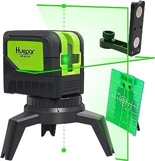 Huepar 2ライン グリーン レーザー墨出し器 2ポイント 緑色 クロスラインレーザー 自動水平調整機能 高輝度 ライン出射角110°&180° 地墨 鉛直ポイント 2線2点
