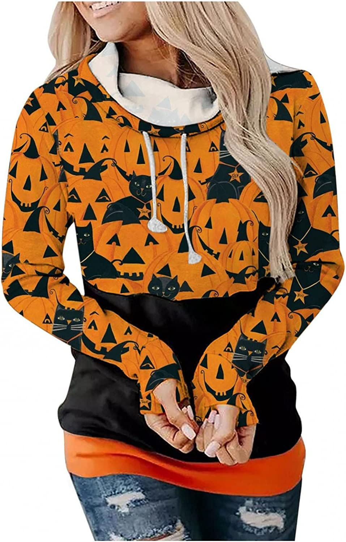 felwors Hoodies for Women, Womens Halloween Print Casual Hooded Hoodies Loose Drawstring Pullover Sweatshirt Tunics Tops