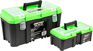 """OEMTOOLS 22161 Tool Box Set with Removable Tool Trays, Includes Two (2) Tool Boxes, Sizes 19"""" & 12.5"""", Portable Tool Box O..."""