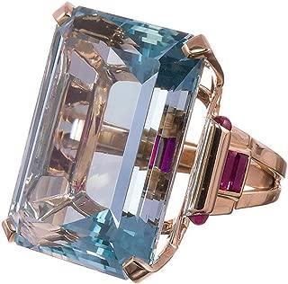 Exquisite Rings,Dainzuy Aquamarine Ring Wedding Ring Emerald Cut Blue Rose Gold Lovers