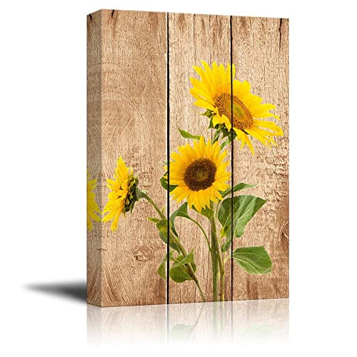 Wall26 Tall Yellow Sunflowers Over Wood Panels