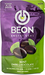 BeON Energy-Boosting Mint Flavored Dark Chocolate. 108 Chocolate Gems with Caffeine, L-Theanine, Vitamins D, B6, and B12, ...