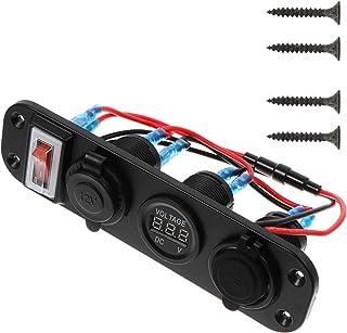 Wakauto Carregador de Soquete Usb Duplo LED Voltímetro 12V 24V Tomada de Energia No Interruptor de Alternância 4 Painel de...