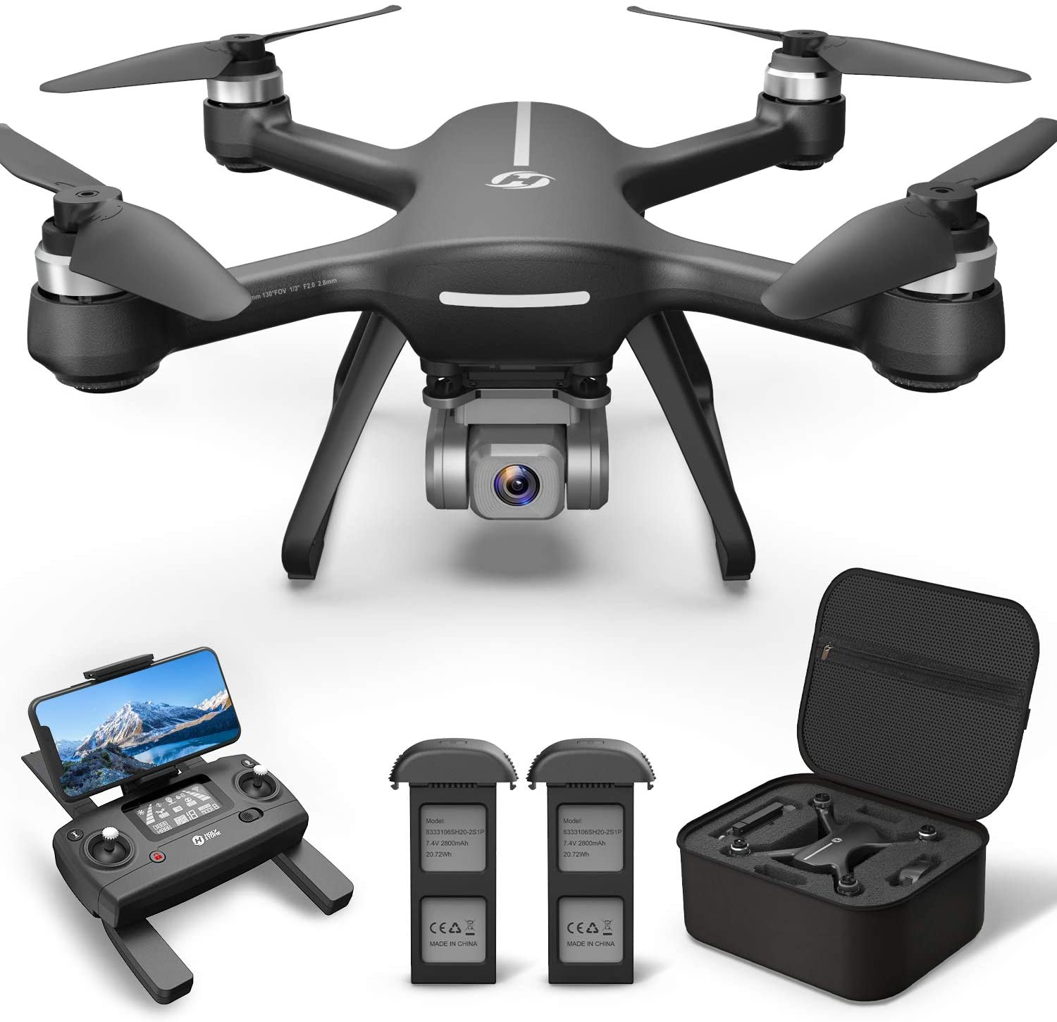 Holy Stone HS700E Drone, Controller, Batteries, Carrying case