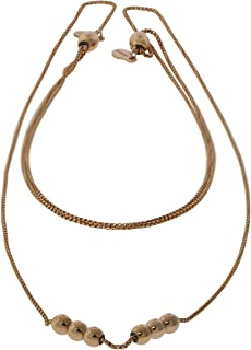 Alex and Ani Women's 32 inch Expandable Chain Starter Necklace 6 Station Beads, 14kt Rose Gold Plated