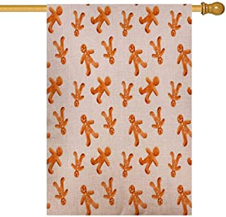 GROOTEY Fall Garden Flag,Home Yard Decorative 28X40 Inches Watercolor Pattern Gingerbread Men White Background Double Sided Seasonal Garden Flags Christmas Kids Garden Flag Christmas Flag