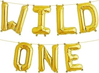 WILD ONE Balloon Gold - Large, Pack of 1 I Kids First Birthday Balloons I 1st Birthday Boy Celebrations I Jungle Safari Th...