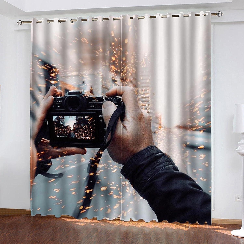 ASNIVI Cortinas Cortas Para Ventanas Cámara Chispas Sencillez Creatividad 2 X 52 X 84 Inch 3D Digital Impresión Cortina Aislante Cortina Opaca Para Dormotorio Habitacion Sala Salon Decór Ventana Con O
