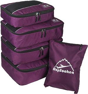 5 قطع مكعب التعبئة مجموعة كبيرة السفر الأمتعة المنظم 4 مكعبات 1 حقيبة غسيل, , بنفسجي - HS1831020PC-09