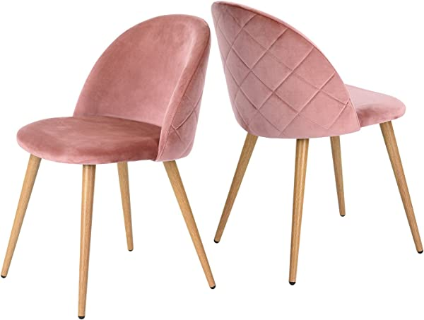 GreenForest Velvet Dining Chairs Mid Century Modern Accent Leisure Chairs Upholstered Side Chairs With Metal Legs For Living Room Set Of 2 Rose