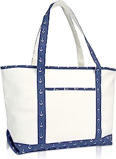 """DALIX 23"""" Premium 24 oz. Cotton Canvas Shopping Tote Navy Blue Anchor"""