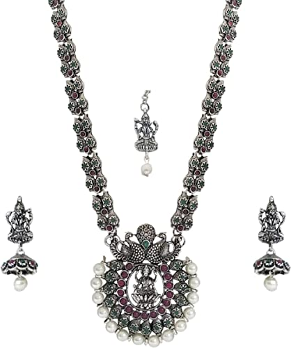 Matushri Art Brass and Ruby Jewellery Set for Women & Girls (Silver)