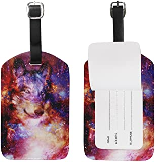 Mydaily Space Wolf Galaxy Luggage Tag PU Leather Bag Suitcases Baggage Label