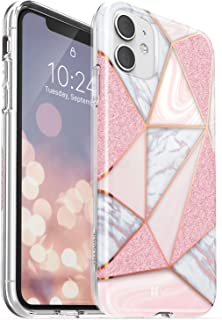 Vena iPhone 11 Marble Glitter Case, Melange Glitter Marble Bumper Protective Case, Designed for iPhone 11 (6.1 inches) - Marble Rose Gold