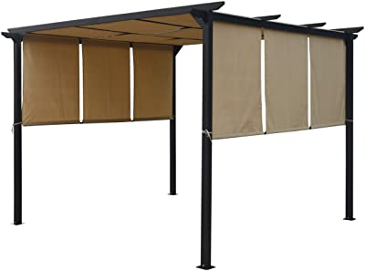 Christopher Knight Home 304382 Dione Outdoor Steel Framed 10' Gazebo, Beige/Brown
