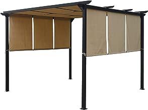 Christopher Knight Home 304382 Dione Outdoor Steel Framed 10' Gazebo, Beige, Brown