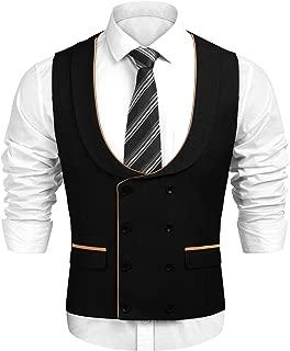 JINIDU Men's Double Breasted Classic Suit Vest,Slim Fit Casual Gentleman Business Formal Wedding Dress Waistcoat