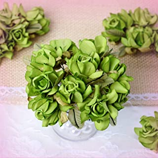 """Inna-Wholesale Art Crafts New 60 pcs Sage Green Open 1.25"""" Roses Craft Decorating Flowers Party Supplies Sale - Perfect for Any Wedding, Special Occasion or Home Office D?cor"""