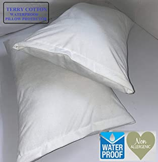 CCWB Cotton Craft Pillow Protectors - 100% Waterproof, Bed Bug Proof, Hypoallergenic - Premium Zippered Cotton Terry Cover...
